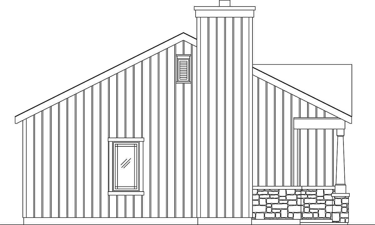 Bungalow, Cottage, Narrow Lot, One-Story House Plan 45186 with 1 Beds, 1 Baths Picture 2