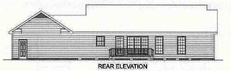 Ranch, Traditional House Plan 45210 with 3 Beds, 2 Baths, 2 Car Garage Rear Elevation