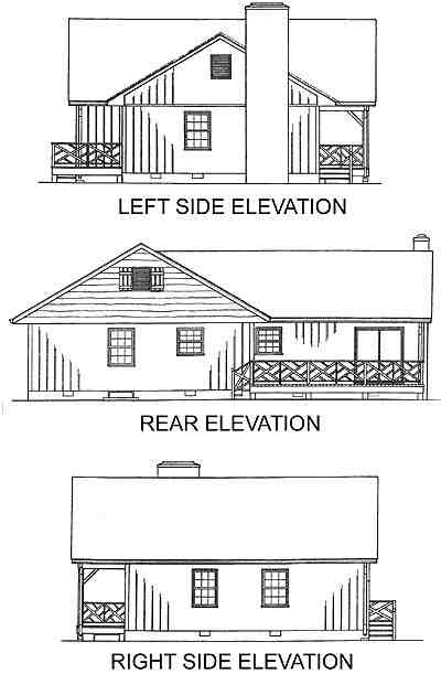 One-Story, Ranch, Traditional House Plan 45241 with 3 Beds, 2 Baths Rear Elevation