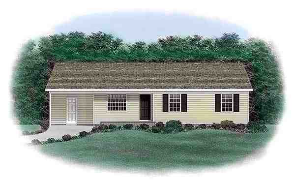 One-Story, Ranch House Plan 45303 with 3 Beds, 2 Baths, 1 Car Garage Elevation