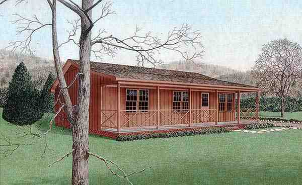 Cabin, Country, Narrow Lot, One-Story House Plan 45309 with 3 Beds, 2 Baths Elevation