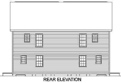 Colonial Multi-Family Plan 45370 with 6 Beds, 6 Baths Rear Elevation