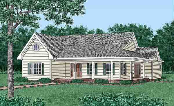 Traditional House Plan 45500 with 3 Beds, 3 Baths Elevation