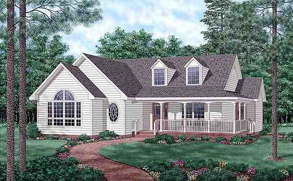 Country, One-Story House Plan 45509 with 3 Beds, 2 Baths Elevation