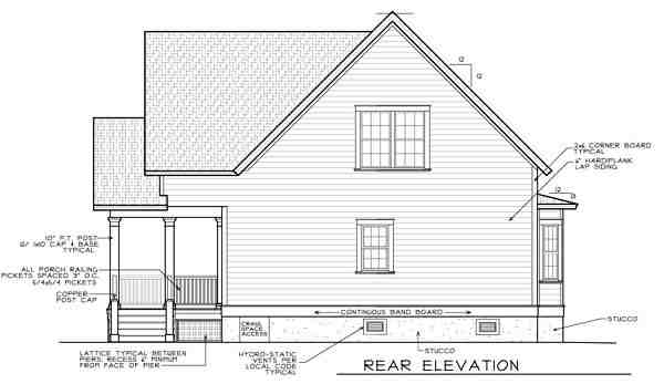 Narrow Lot House Plan 45634 with 4 Beds, 3 Baths Rear Elevation