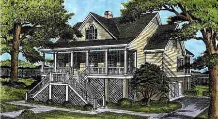 Coastal, Country House Plan 45657 with 3 Beds, 3 Baths Elevation