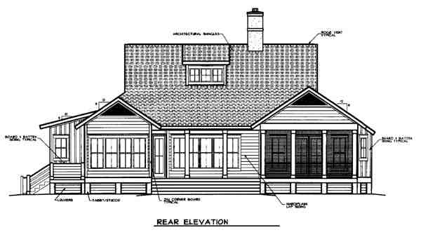 Country, European House Plan 45663 with 3 Beds, 4 Baths, 2 Car Garage Rear Elevation