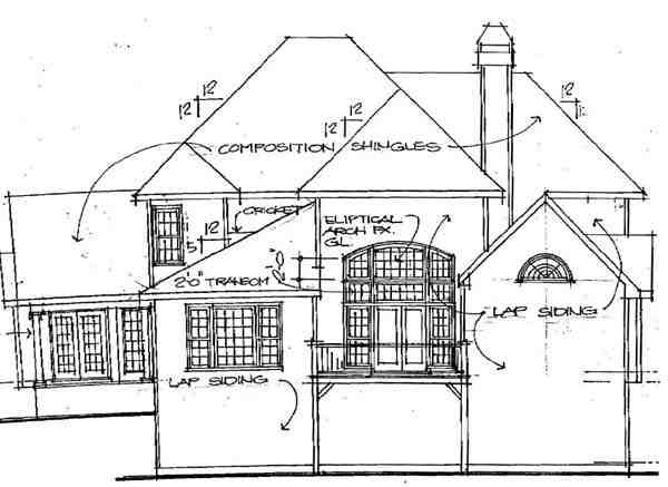 Traditional House Plan 45847 with 4 Beds, 3.5 Baths, 2 Car Garage Rear Elevation
