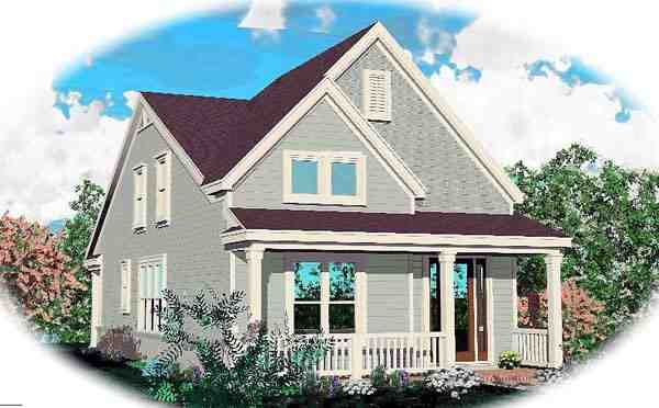 Narrow Lot, Ranch House Plan 46358 with 3 Beds, 3 Baths, 2 Car Garage Elevation
