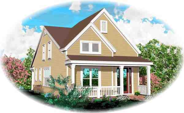 Narrow Lot House Plan 46902 with 3 Beds, 3 Baths Elevation