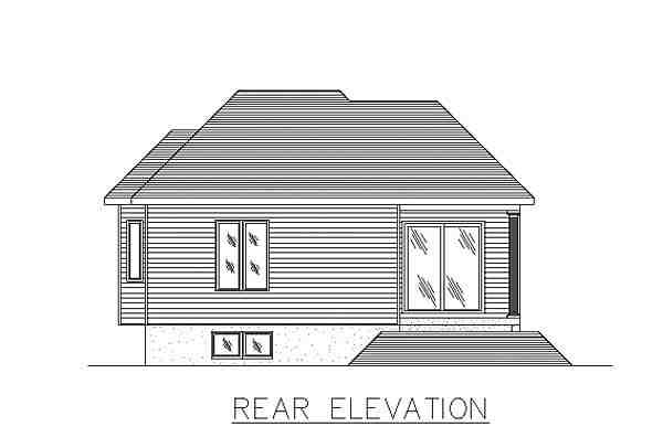 Bungalow, Narrow Lot House Plan 48011 with 4 Beds, 2 Baths Rear Elevation