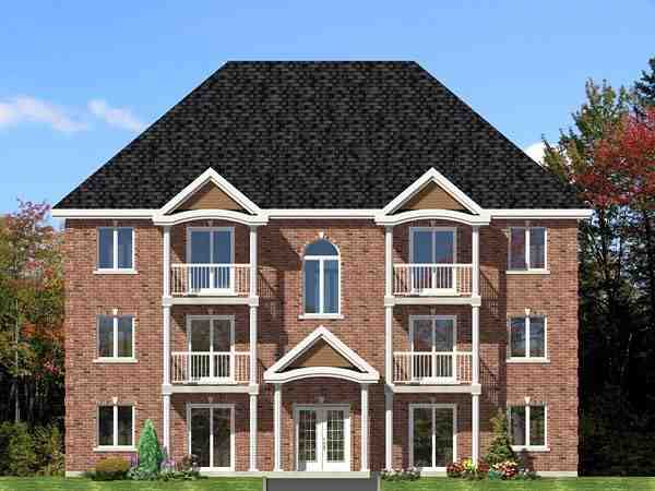 Multi-Family Plan 48073 with 12 Beds, 6 Baths Elevation