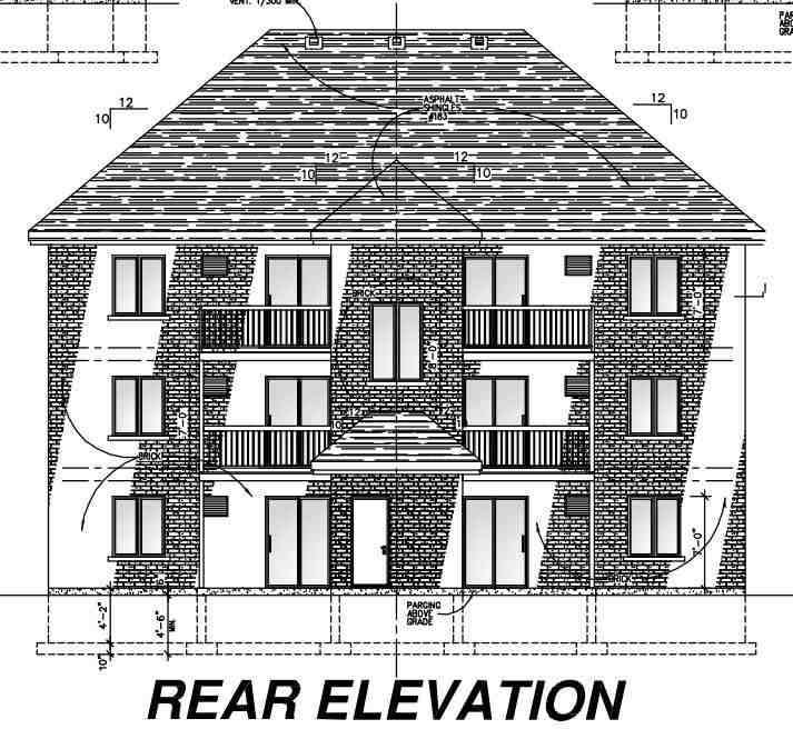 Multi-Family Plan 48073 with 12 Beds, 6 Baths Rear Elevation