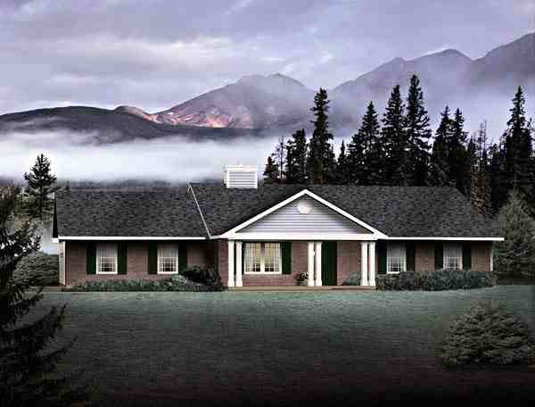 One-Story, Ranch House Plan 49135 with 3 Beds, 2 Baths, 2 Car Garage Elevation