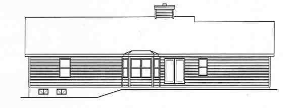 One-Story, Ranch House Plan 49135 with 3 Beds, 2 Baths, 2 Car Garage Rear Elevation