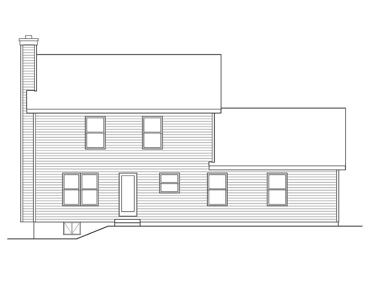 Colonial House Plan 49143 with 4 Beds, 3 Baths, 2 Car Garage Rear Elevation