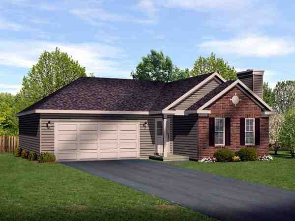 Ranch House Plan 49199 with 2 Beds, 2 Baths, 2 Car Garage Elevation