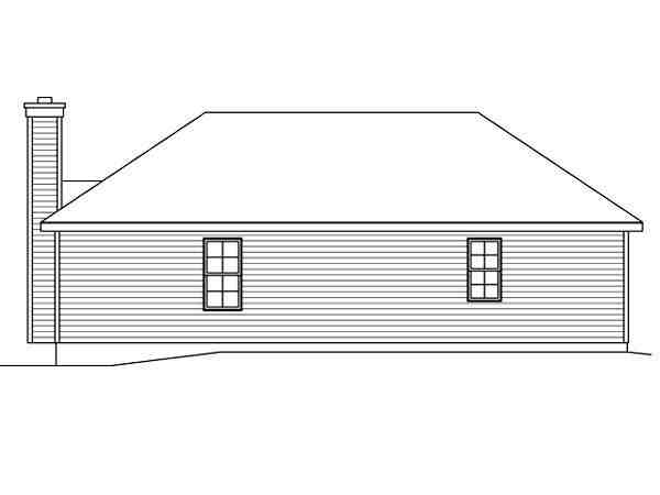 Ranch House Plan 49199 with 2 Beds, 2 Baths, 2 Car Garage Rear Elevation