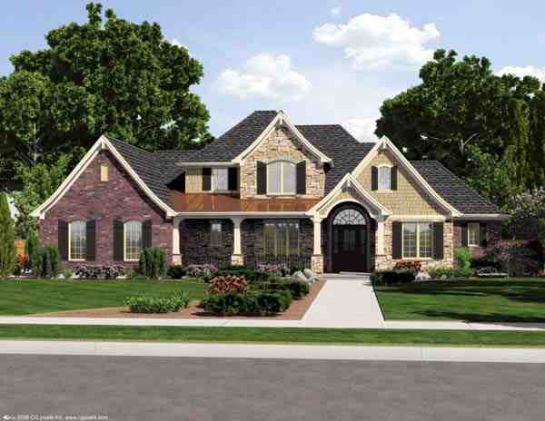 European House Plan 50173 with 4 Beds, 3 Baths, 3 Car Garage Elevation