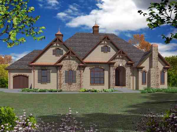European House Plan 50253 with 4 Beds, 4 Baths, 3 Car Garage Elevation