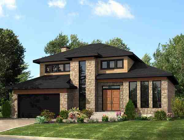 Contemporary, Modern House Plan 50323 with 3 Beds, 2 Baths, 2 Car Garage Elevation