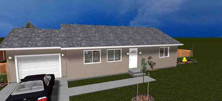 House Plan 50439 with 2 Beds, 1 Baths, 1 Car Garage Elevation