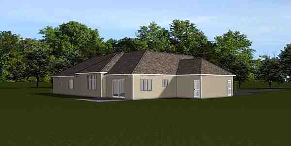 Ranch, Traditional House Plan 50681 with 3 Beds, 3 Baths, 3 Car Garage Rear Elevation