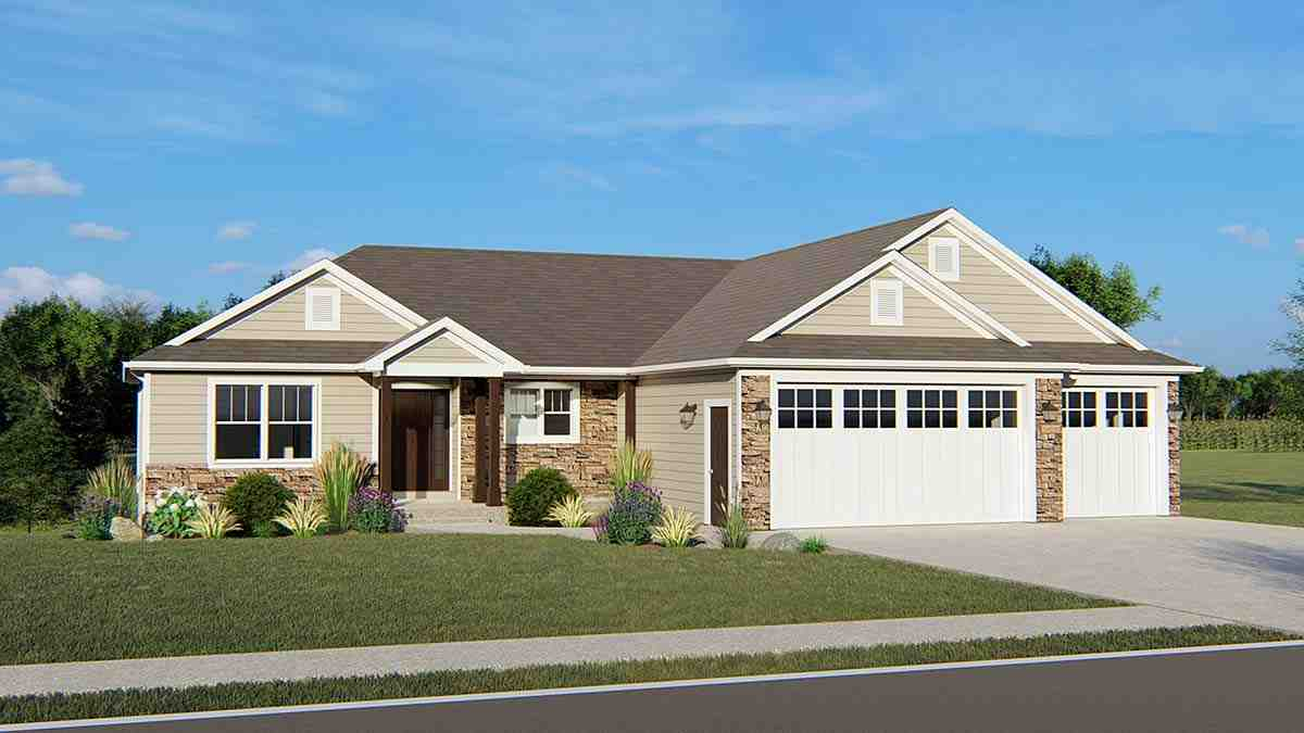 Ranch, Traditional House Plan 50697 with 3 Beds, 2 Baths, 3 Car Garage Elevation