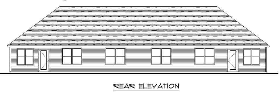 Colonial, Cottage, Country, Craftsman, Ranch, Traditional Multi-Family Plan 50789 with 6 Beds, 4 Baths, 4 Car Garage Rear Elevation