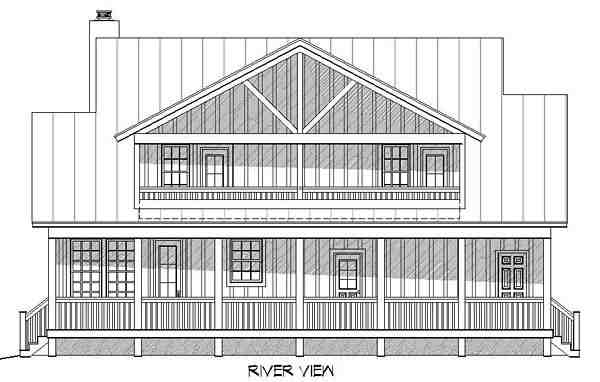 Country, Southern House Plan 51437 with 3 Beds, 3 Baths Rear Elevation