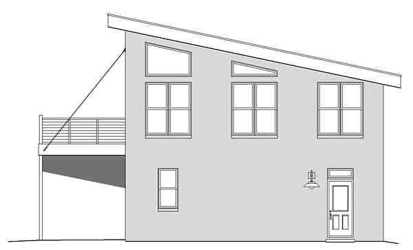 Contemporary, Modern Garage-Living Plan 51479 with 1 Beds, 1 Baths, 2 Car Garage Picture 2