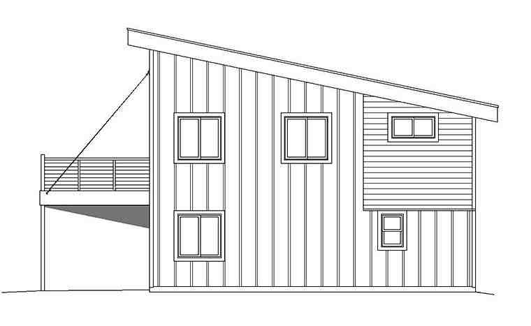 Contemporary, Modern Garage-Living Plan 51597 with 3 Beds, 2 Baths, 1 Car Garage Picture 2