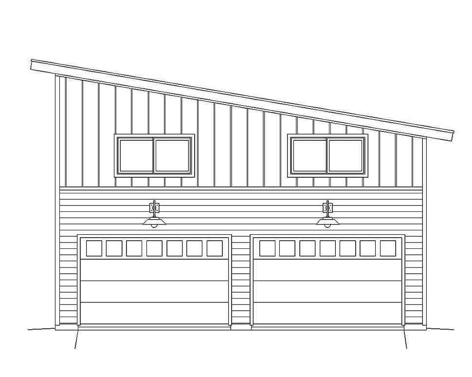 Contemporary, Modern 2 Car Garage Plan 51607 Picture 3