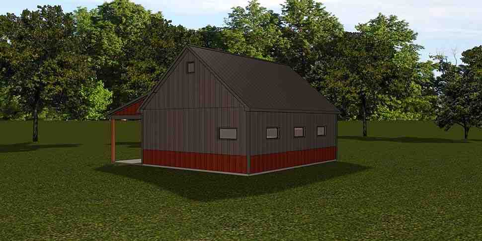 Country, Southern 1 Car Garage Apartment Plan 51832 Rear Elevation