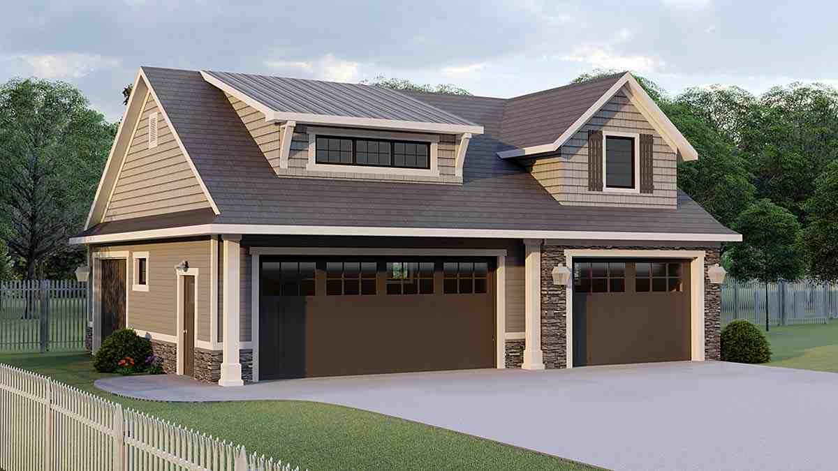 Bungalow, Cottage, Country, Craftsman, French Country 3 Car Garage Plan 51870 Elevation