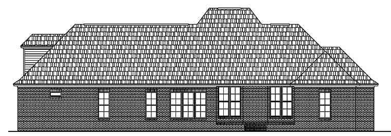 European, French Country House Plan 51952 with 4 Beds, 4 Baths, 2 Car Garage Rear Elevation
