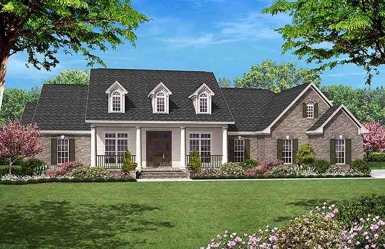 Country, Ranch, Traditional House Plan 51953 with 4 Beds, 4 Baths, 2 Car Garage Elevation