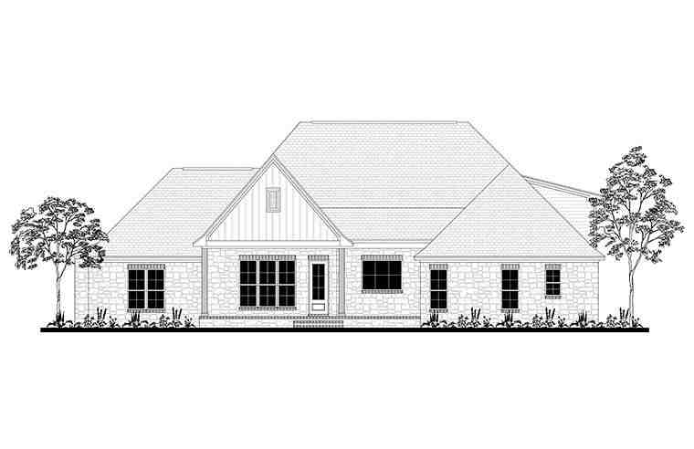Country, Craftsman, Farmhouse, Southern, Traditional House Plan 51968 with 4 Beds, 3 Baths, 2 Car Garage Rear Elevation