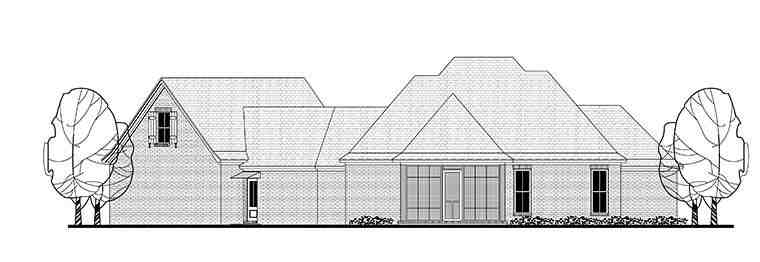 Country, French Country, Traditional House Plan 51969 with 3 Beds, 2 Baths, 2 Car Garage Rear Elevation