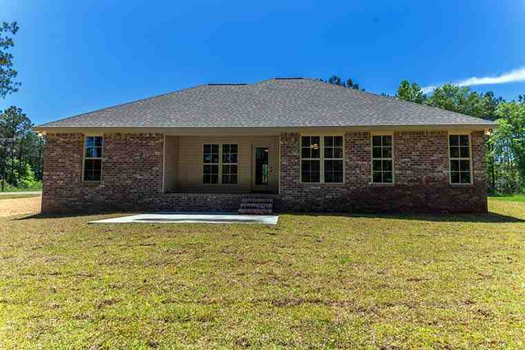 Country, Traditional House Plan 51977 with 4 Beds, 2 Baths, 2 Car Garage Rear Elevation