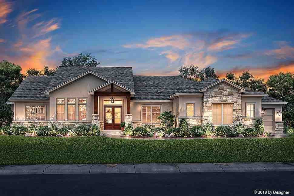 Bungalow, Contemporary, Cottage, Craftsman, Tuscan House Plan 51982 with 3 Beds, 3 Baths, 3 Car Garage Elevation