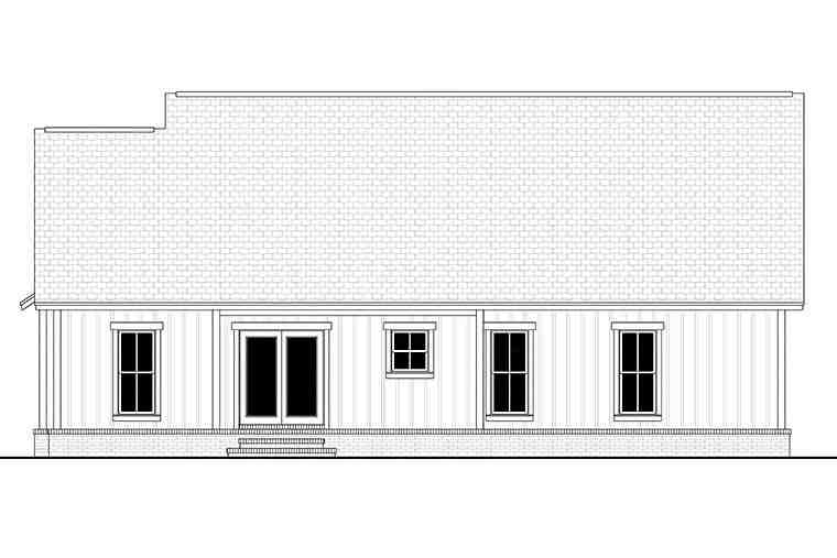 Country, Farmhouse, Southern, Traditional House Plan 51997 with 3 Beds, 2 Baths, 2 Car Garage Rear Elevation
