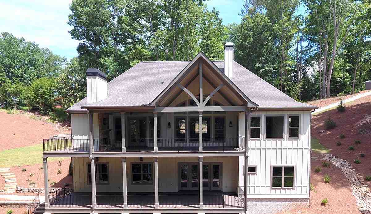 Country, Craftsman, French Country House Plan 52005 with 4 Beds, 4 Baths, 3 Car Garage Rear Elevation