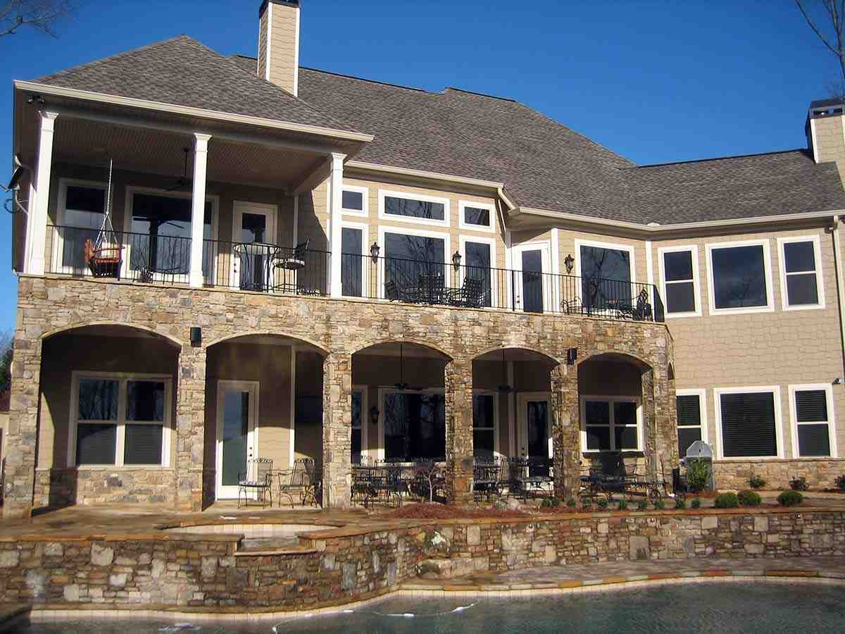 Craftsman, Traditional House Plan 52008 with 4 Beds, 5 Baths, 3 Car Garage Rear Elevation