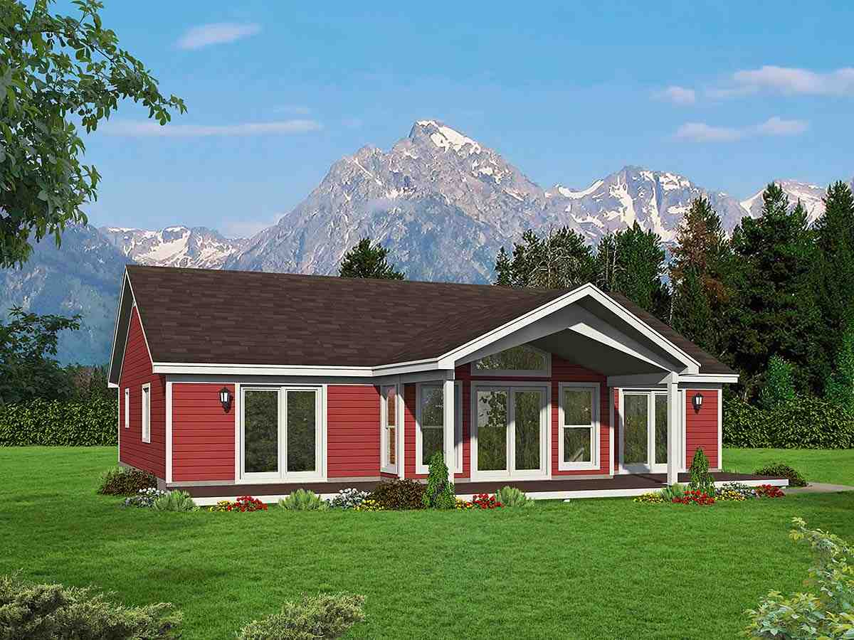 Traditional House Plan 52138 with 2 Beds, 2 Baths Elevation