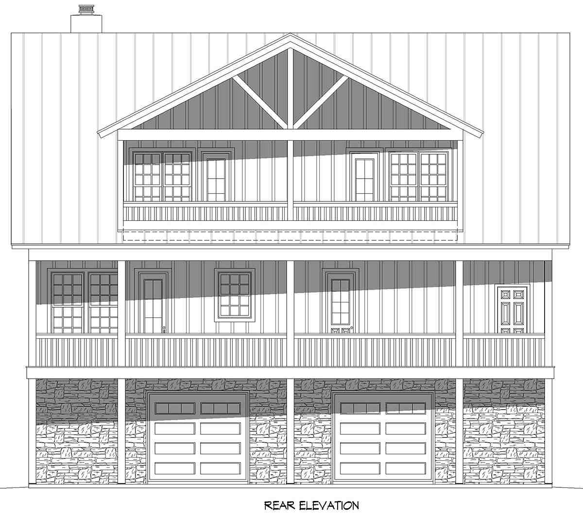 Bungalow, Country, Craftsman, Farmhouse House Plan 52140 with 3 Beds, 4 Baths, 2 Car Garage Rear Elevation
