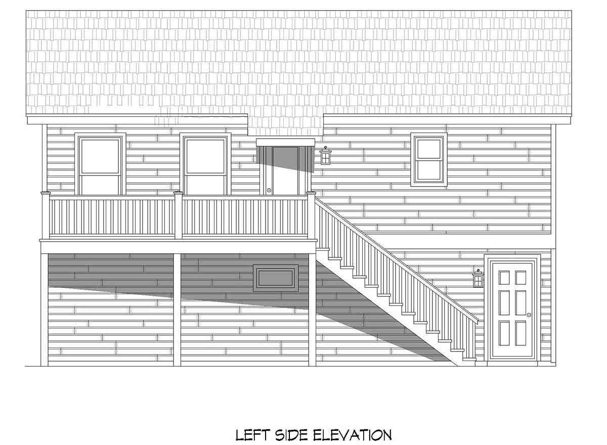 Cape Cod, Saltbox, Traditional Garage-Living Plan 52146 with 1 Beds, 1 Baths, 2 Car Garage Picture 2