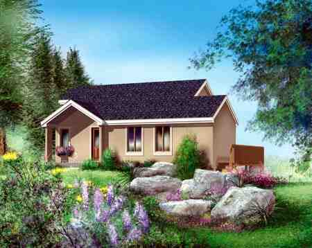 House Plan 52776 with 1 Beds, 2 Baths Elevation
