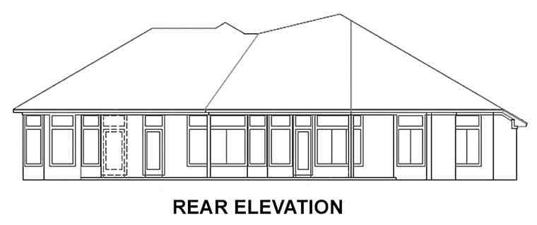 House Plan 53523 with 5 Beds, 4 Baths, 2 Car Garage Rear Elevation