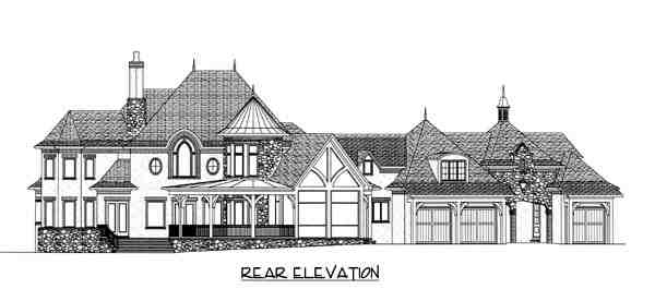 Country, European House Plan 53744 with 4 Beds, 5 Baths, 3 Car Garage Rear Elevation